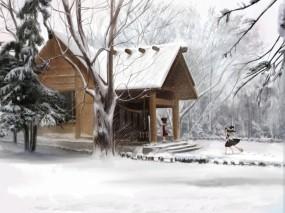 Обои Зимний дом: Зима, Дом, Аниме, Аниме