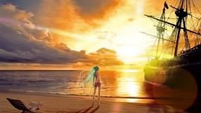 Обои На берегу: Море, Девушка, Берег, Корабль, Аниме, Аниме