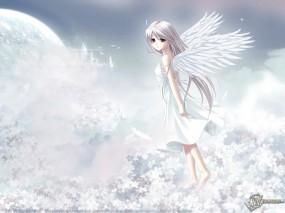 Обои 3D Девушка на небе: Anime, Angel, Аниме