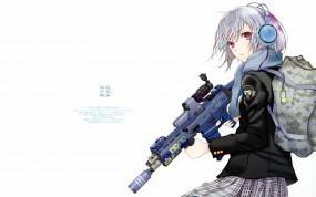 Обои Девушка снайпер: Девушка, Оружие, Снайпер, Аниме