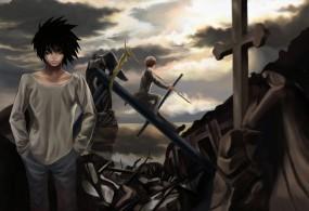Обои Death note (тетрадь смерти): Death Note, Тетрадь смерти, Рюзаки, Ягами, Кира, Крест, Аниме