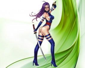 Обои Девушка с мечами: Девушка, Каблуки, Мечи, Аниме