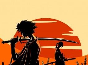 Обои Самурай чамплу: Солнце, Меч, Афросамурай, Аниме