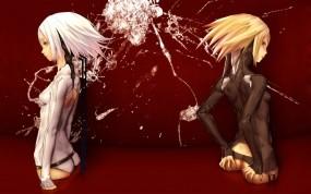 Обои Девушки: Кровь, Девушки, Униформа, Аниме