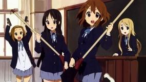 Обои K-on: Окно, Доска, K-On!, Ritsu, Mio, Yui, Tsumugi, Швабры, Аниме