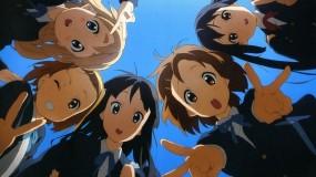 Обои K-on: Улыбка, Небо, K-On!, Ritsu, Mio, Yui, Tsumugi, Azusa, Аниме
