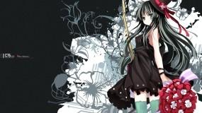 Обои K-on (Mio Akiyama): Платье, Гитара, Букет, K-On!, Mio, Аниме