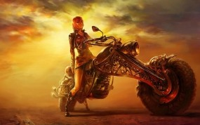 Обои Байкерша: Пустыня, Мотоцикл, Телка, Аниме