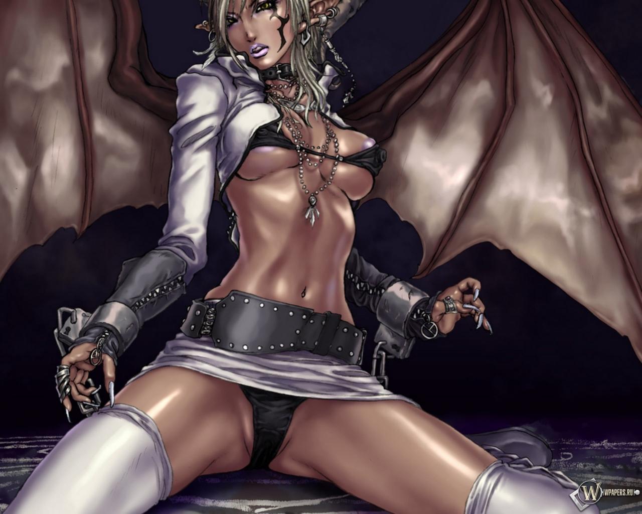 Девушка демон 1280x1024
