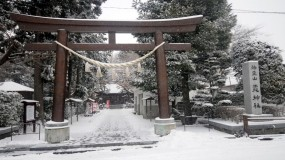 Обои Японская арка: Снег, Япония, Врата, Архитектура