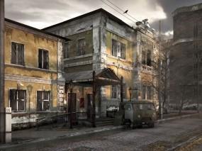 Обои Заброшенный город: Разруха, УАЗ, 3D архитектура