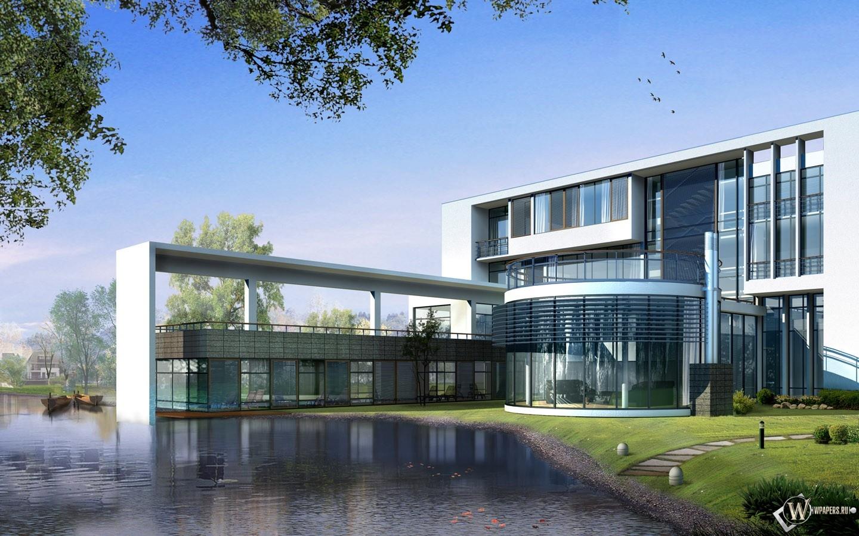 3D дом у воды 1440x900