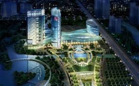 Обои Ночьной парк 3D: Огни, Дорога, Город, Ночь, Дома, 3D архитектура