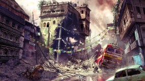 Обои разрушеный город: Улица, Разруха, Машины, 3D архитектура