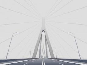 Обои Автомобильный мост: Дорога, Мост, Минимализм, Вектор, Прочая архитектура