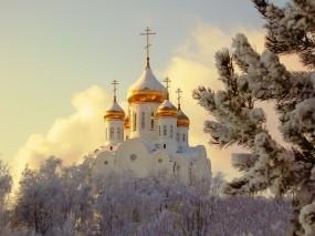 Обои Православный храм: Купола, Зима, Снег, Храм, Церковь, Прочая архитектура
