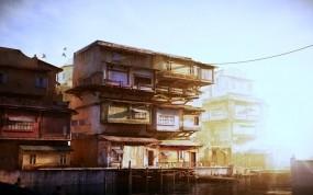 Обои Китайский причал в коричневых тонах: Свет, Причал, Дом, Китай, Прочая архитектура