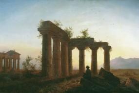Обои Развалины греческого храма: Храм, Закат, Человек, Прочая архитектура