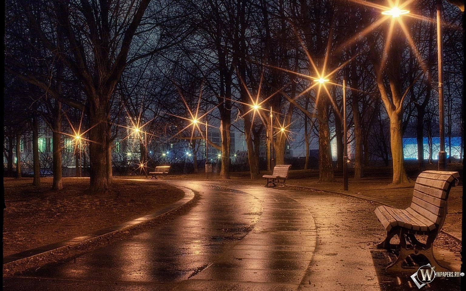 Ночная аллея 1536x960