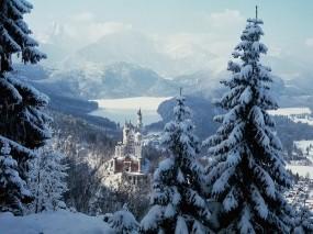Обои Замок Нойшванштайн Бавария: Зима, Замок, Замки
