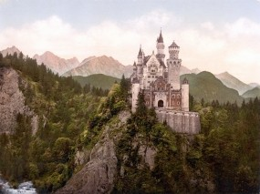 Обои Замок Нойшванштайн: Горы, Лес, Замок, Замки