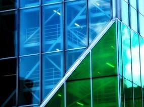 Обои Стеклянная башня: Стекло, Здание, Синий, Зелёный, Небоскрёбы