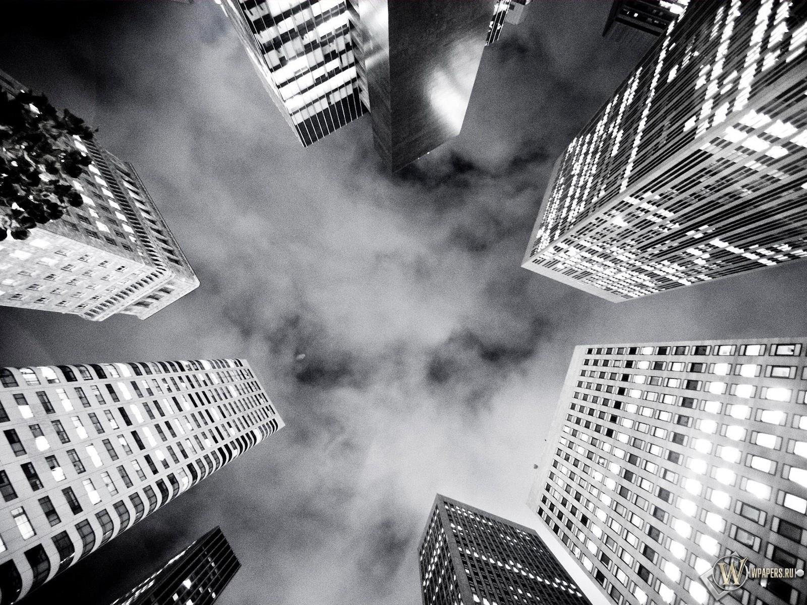 Черно-белые небоскребы 1600x1200