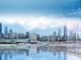 Обои Строящийся город: Стройка, Озеро, Здания, Города