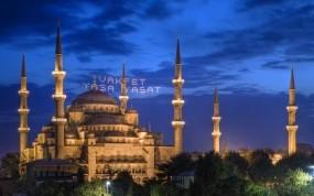 Обои Мечеть Султана Ахмета в Стамбуле: Огни, Мечеть, Деревья, Ночь, Турция, Города