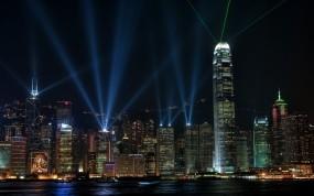 Обои Небоскрёбы Гонконга: Огни, Ночь, Гонконг, Города