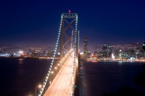 Обои Ночной мост: Огни, Река, Мост, Ночь, Города