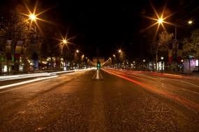 Обои Ночь в Париже: Огни, Дорога, Ночь, Париж, Города