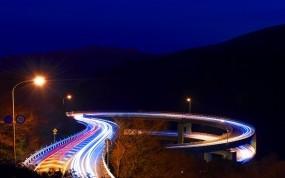 Обои Shizuoka Япония: Фонари, Мост, Ночь, Япония, Shizuoka, Города