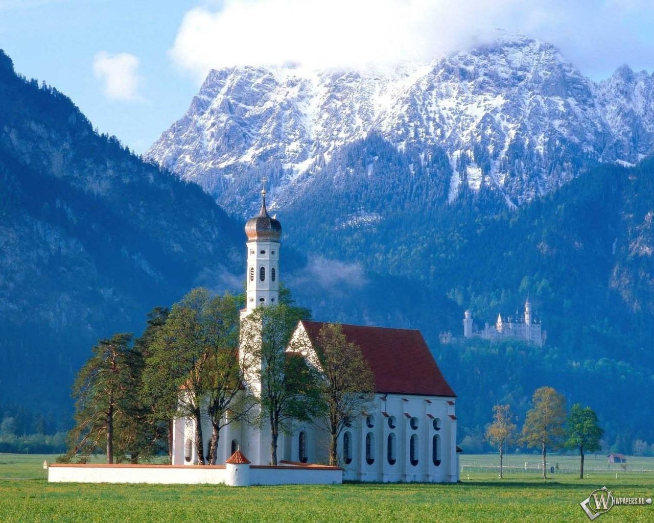 Церковь в Баварии Германия 1280x1024
