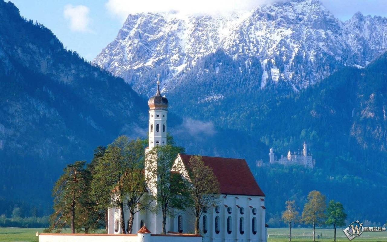 Церковь в Баварии Германия 1280x800