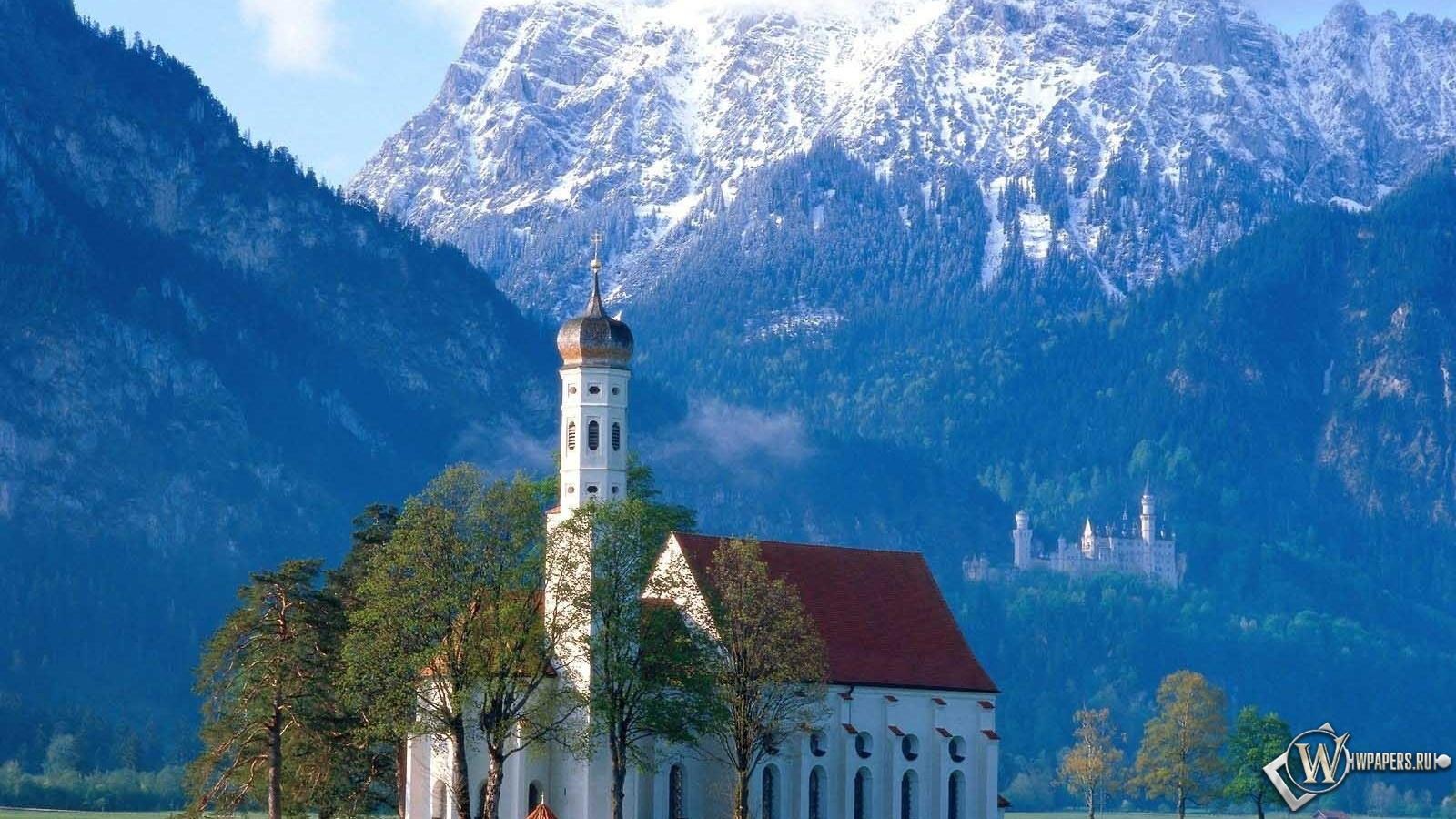 Церковь в Баварии Германия 1600x900
