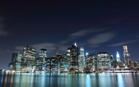 Обои Город в ночи: Огни, Свет, Вода, Город, Ночь, Дом, Города