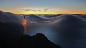 Обои Мост Золотые ворота Сан-Франциско: Город, Мост, Закат, Вечер, Города