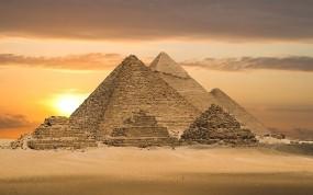 Обои Египетские пирамиды: Закат, Пирамида, Египет, Города