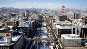 Обои Япония: Зима, Горы, Снег, Япония, Здания, Улица, Города