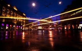 Обои Street View: Огни, Город, Дома, Улица, Города