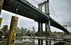 Обои Манхэттенский мост: Река, Город, Мост, Здания, Города