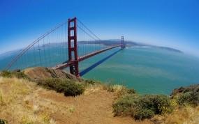 Обои Мост Золотые ворота Сан-Франциско: Мост, Трава, Сан-Франциско, Залив, Города