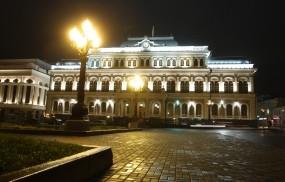 Обои Казанская Ратуша на площади свободы: Казань, Ночь, Площадь, Ратуша, Казань