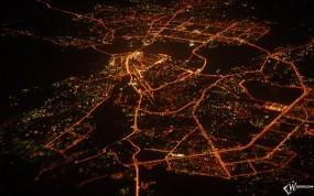 Обои Ночная казань (вид сверху): Ночной город, Огни, Фонари, Казань, Казань