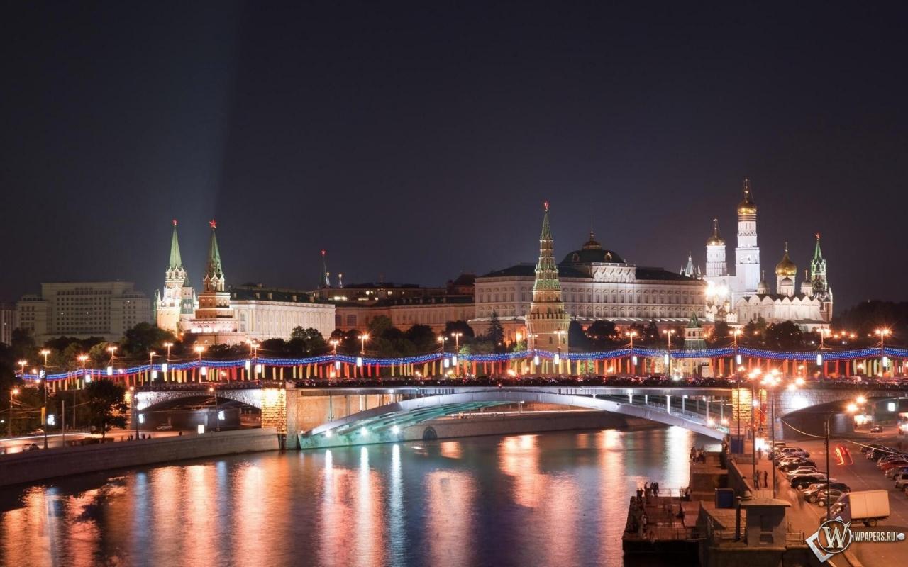 Московский кремль в Новый Год 1280x800