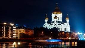 Обои Храм Христа Спасителя: Ночь, Москва, Храм Христа Спасителя, Москва