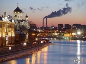 Обои Вид города Москвы: Москва, Москва река, Храм Христа Спасителя, Москва