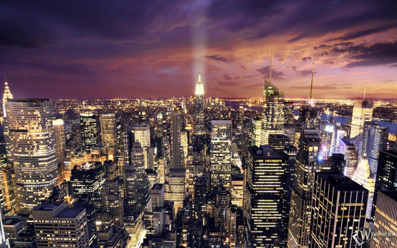 Ночной Нью-Йорк 1280x800
