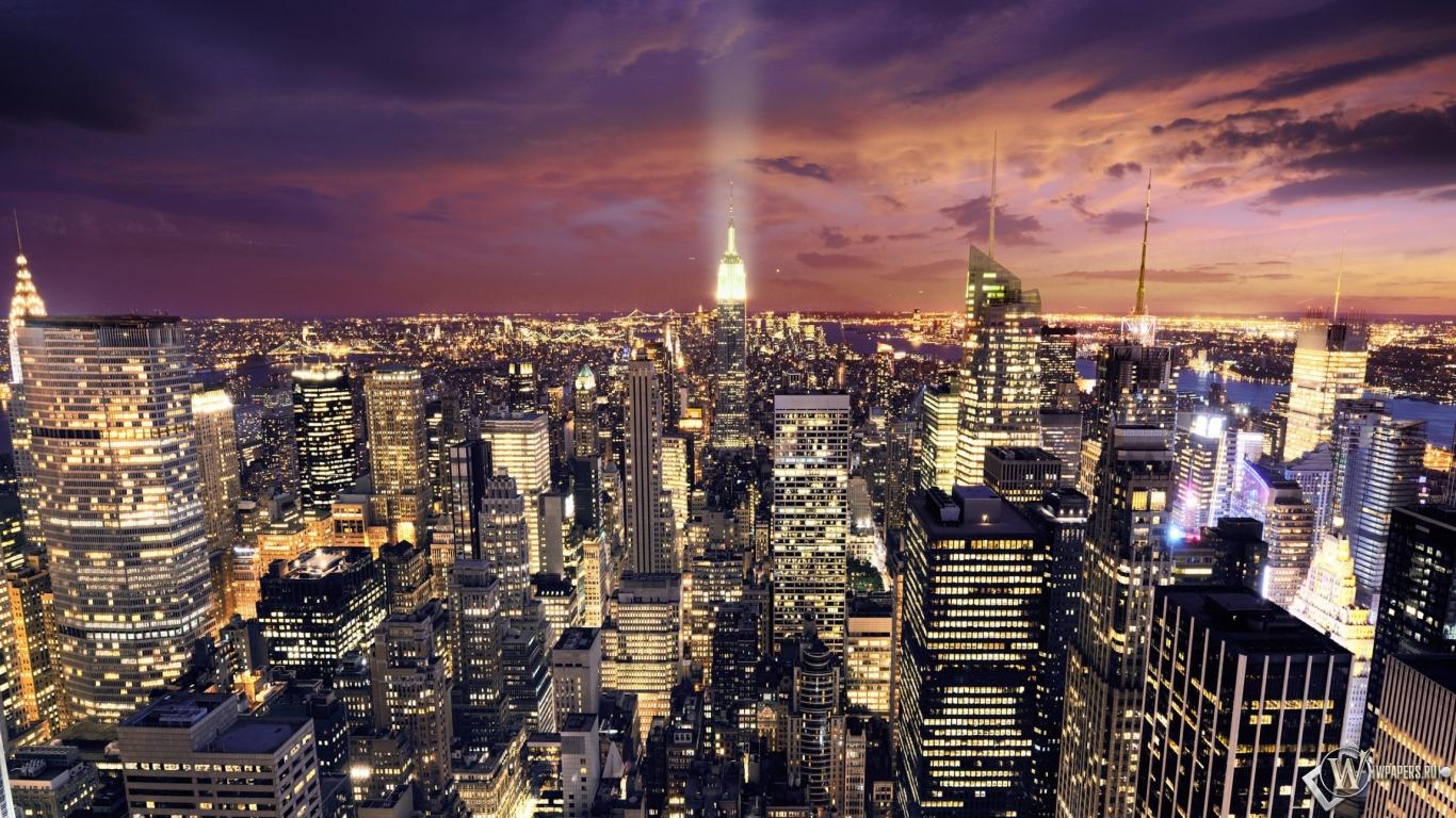 Ночной Нью-Йорк 1366x768